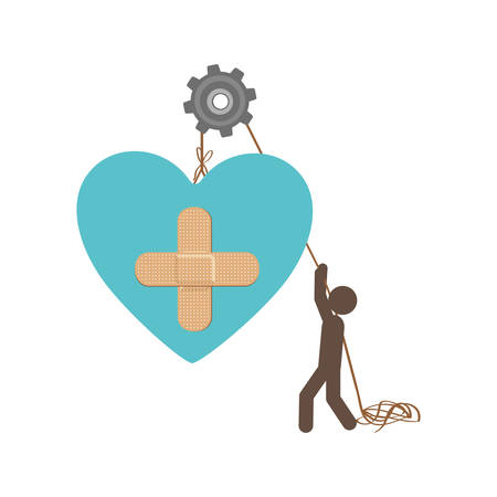 systole: people with pulleys hanging the heart with aid band, vector illustration