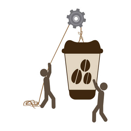 people with pulleys hanging the coffee disposable bottle, vector illustration design Illustration