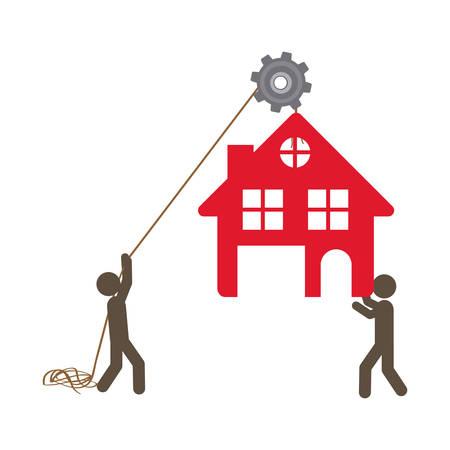 poleas: personas con poleas colgando de la casa, ilustración vectorial diseño