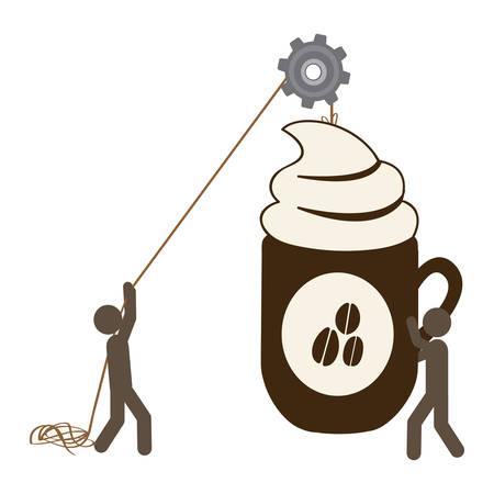 poleas: personas con poleas colgando la taza de café, diseño de ilustración vectorial