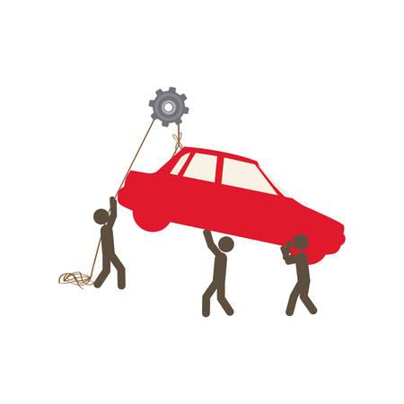 poleas: personas con poleas colgando el coche, diseño de ilustración vectorial
