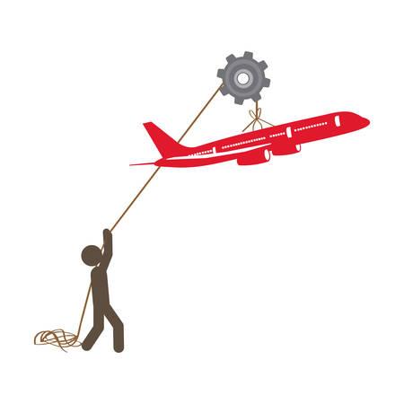 poleas: personas con poleas colgando del avión, diseño de ilustración vectorial Vectores