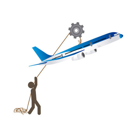 poleas: people with pulleys hanging the airplane, vector illustration design Vectores