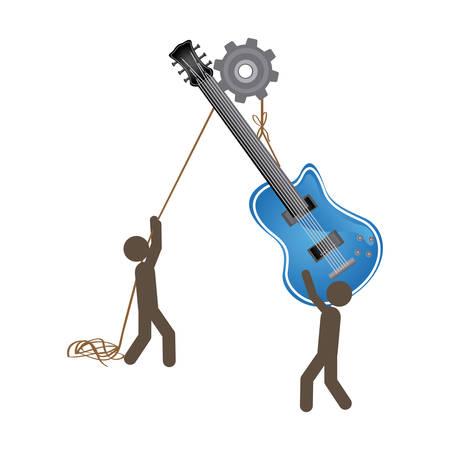 poleas: personas con poleas colgando de la guitarra eléctrica, ilustración vectorial
