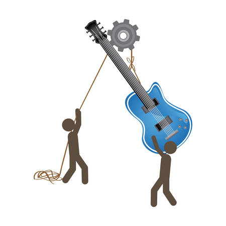 people with pulleys hanging the electric guitar, vector illustration