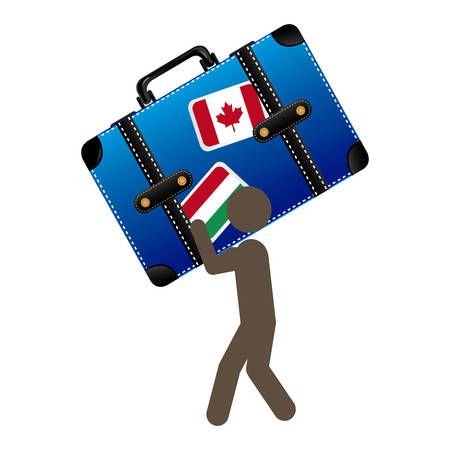 suitcase packing: person with suitcase in his hands and shoulder, vector illustration design