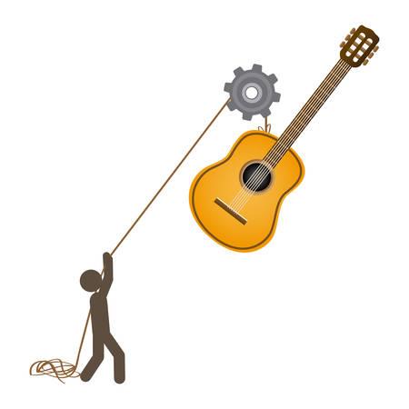 poleas: persona con poleas colgando de la guitarra, ilustración vectorial diseño