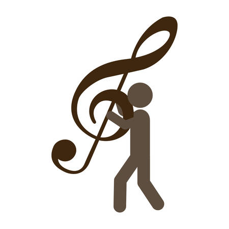 semiquaver: person with musical sign in his hands, vector illustration design Illustration