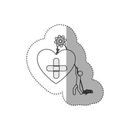 systole: figure people with pulleys hanging the heart with bandage, vector illustration
