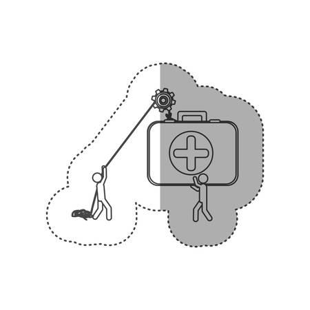 poleas: figura personas con poleas colgando el kit de ayuda, ilustración vectorial