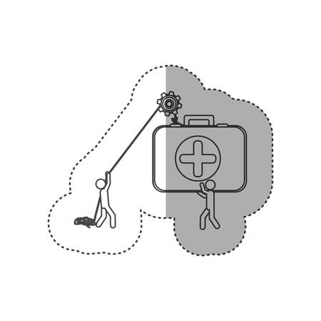 figure people with pulleys hanging the aid kit, vector illustration