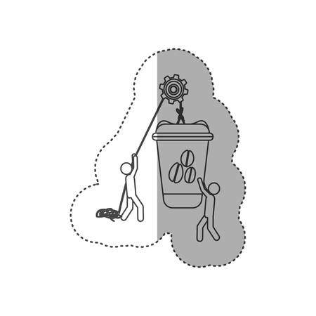 figure people with pulleys hanging the coffee disposable bottle, vector illustration design