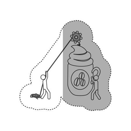 poleas: figura de personas con poleas colgando la taza de café, diseño de ilustración vectorial Vectores
