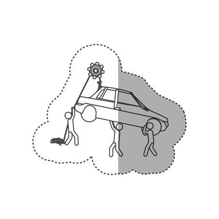 poleas: figura gente con poleas colgando el coche, diseño de ilustración vectorial Vectores