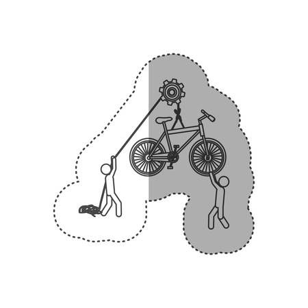 figure people with pulleys hanging the bicycle, vector illustration design