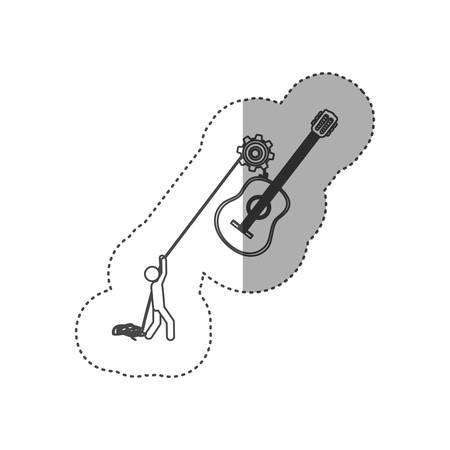 figure people with pulleys hanging the guitar, vector illustration Illustration