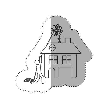 figure person with pulleys hanging the house, vector illustration design Illustration
