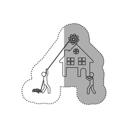 poleas: figura persona con poleas colgando de la casa, ilustración vectorial diseño