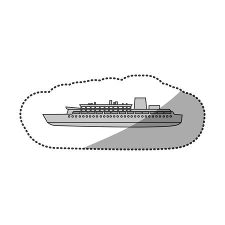 inflate boat: contour ship maritime transpotation, vector illustration design Illustration