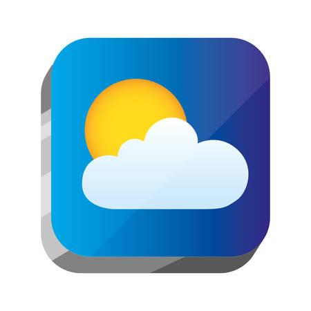 illustraion: 3d button with sun and cloud design, vector illustraion image