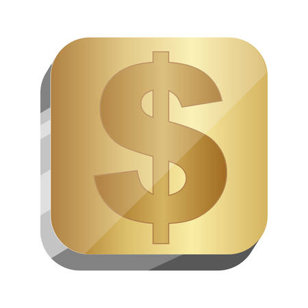 3d button dollar currency symbol, vector illustration design
