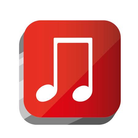semiquaver: 3d button musical sign icon, vector illustration design Illustration