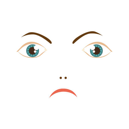 human woman expression angry face vector illustration