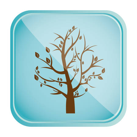 color square frame and blue background with fall tree vector illustration Illustration