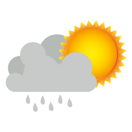 colorful cumulus cloud with rain and sun vector illustration