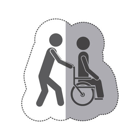 impairment: sticker monochrome silhouette person helping another push a wheelchair vector illustration