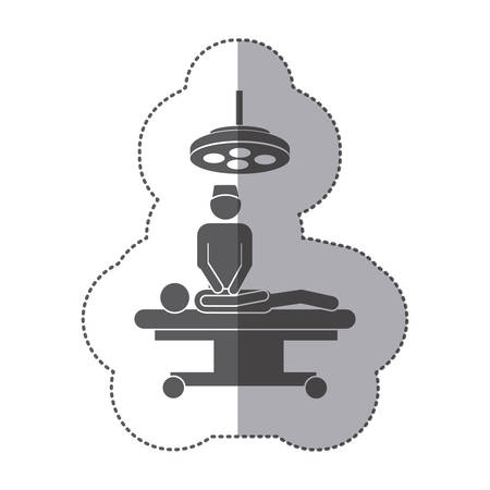 sticker monochrome pictogram patient in surgery vector illustration