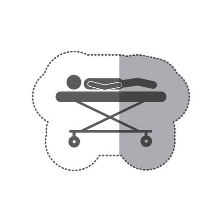 sticker monochrome pictogram patient in stretcher clinical icon flat vector illustration Illustration