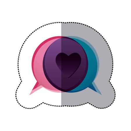 sticker colorful bubble dialog box with heart symbol vector illustration Illustration
