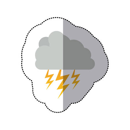 sticker cumulus cloud with storm and thunder vector illustration Illustration