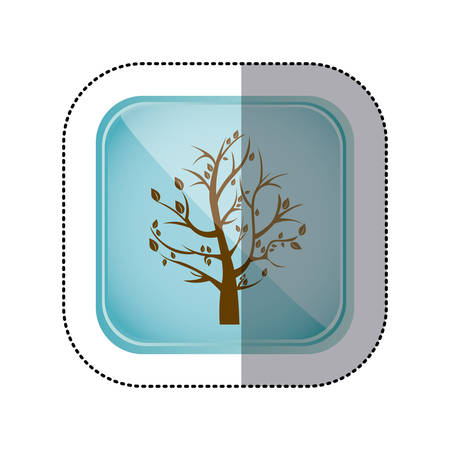 sticker color square frame and blue background with fall tree vector illustration