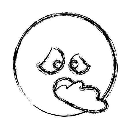 diseased: blurred silhouette emoticon sick face vector illustration Illustration