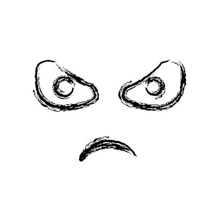 blurred silhouette emoticon angry expression vector illustration Stock Vector - 74808271