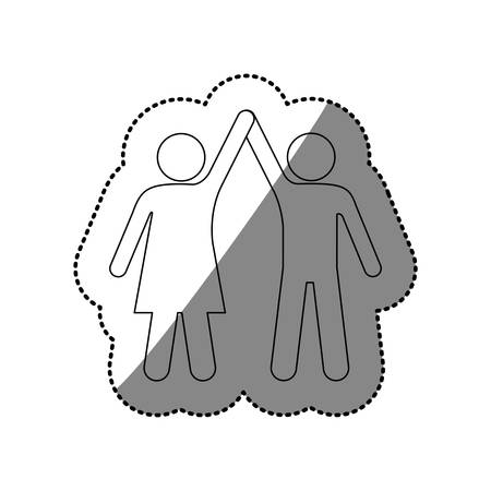 Silhouette sticker of pictogram couple taken of hands up vector illustration
