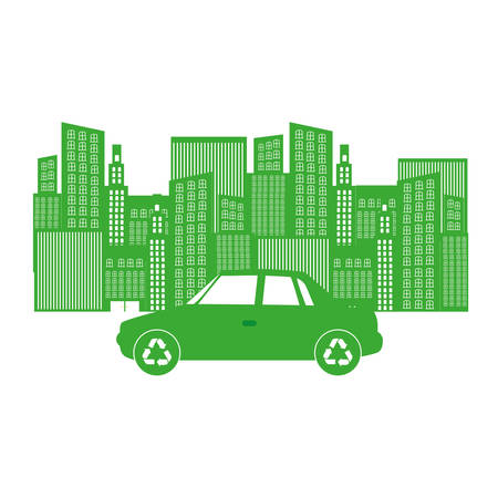 Monochrome background with city buildings and car vector illustration Illustration
