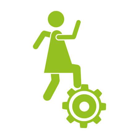 Silhouette monochrome avec femme sur illustration vectorielle de pignon