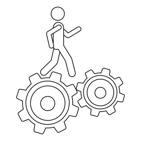 contour monochrome avec l'homme sur deux pignons vector illustration