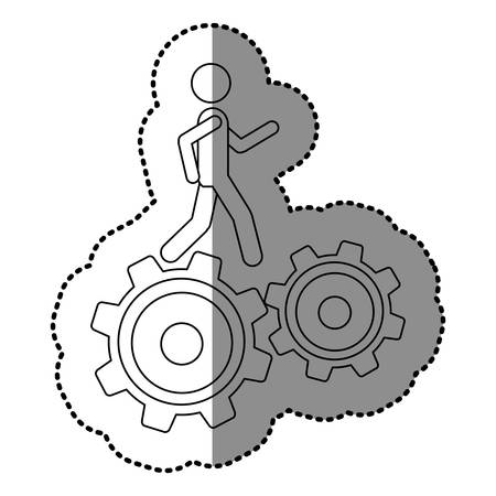 Monochrome contour sticker with man over two pinions vector illustration. Illustration