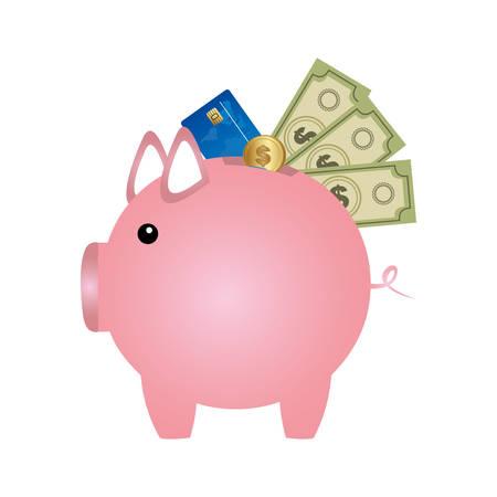 pig save different money, vector illustration design Illustration