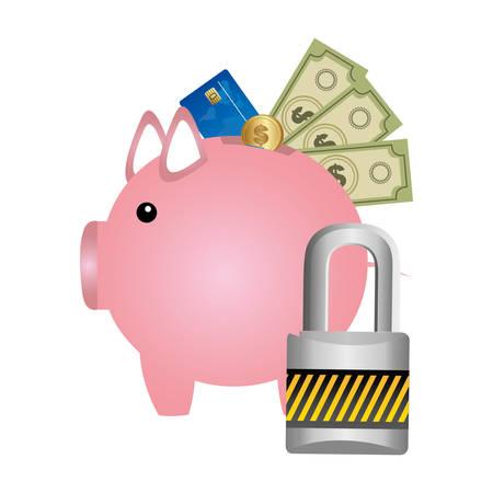 pig save different money and padlock, vector illustration design Illustration