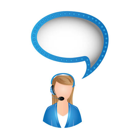woman call center with chat bubble, vector illustration design