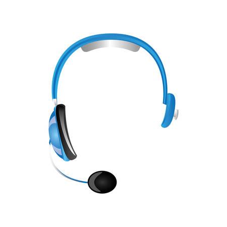 cable telefono: headphone technology to listen and speak, vector illustration design