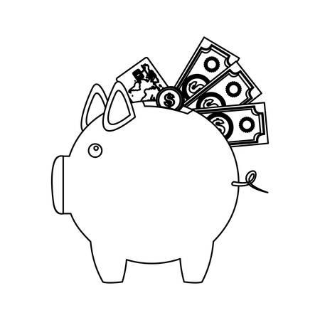 figure pig save different money, vector illustration design