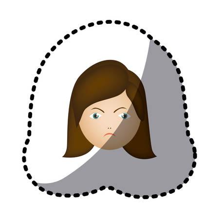 sticker colorful cartoon human female furious face vector illustration Stock Vector - 74818694