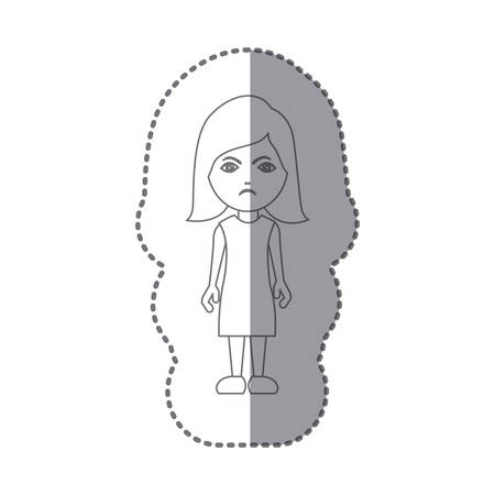 sticker silhouette caricature angry woman with costume vector illustration Illustration