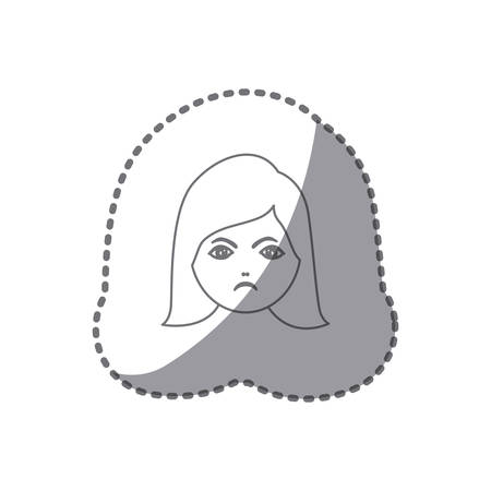 sticker silhouette cartoon human female furious face vector illustration Illustration